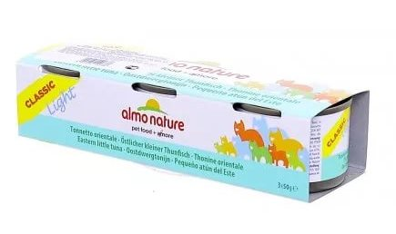 3шт,Almo Nature 50гр набор низкокалорийных консервов c пятнистым индо-тихоокеанским тунцом, Classic Light Cat Eastern Little Tuna