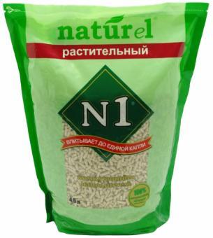 """N1 Комкующийся древесный наполнитель Naturel """"Растительный"""" на 4,5л"""
