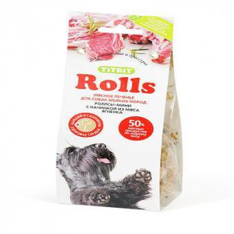 TiTBiT 100г Печенье Rolls мини с начинкой из мяса ягненка