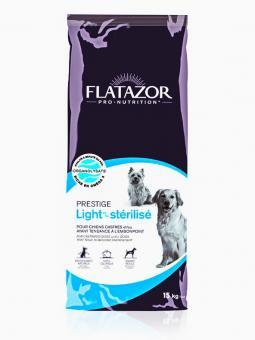 Flatazor 8кг Prestige light sterilise Сухой корм облегченный для взрослых собак утка, белая рыба