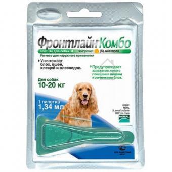 Merial Frontline Combo M для собак весом 10-20 кг, пипетка 1,34 мл