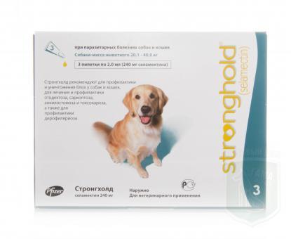 Pfizer СТРОНГХОЛД капли на холку  для собак от 20 до 40 кг  12%  3 пипетки по 2ml (240mg-зеленая)