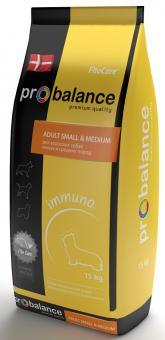 Probalance 15кг Adult small medium Immuno корм сухой для взрослых собак мелких и средних пород