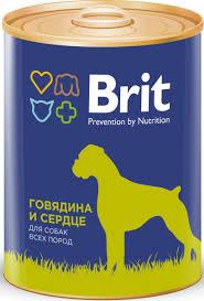 Brit 850гр Premium консервы для собак с говядина с сердцем