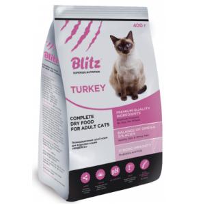 Blitz 0,4 кг Adult Cat  сухой корм для взрослых кошек с индейкой