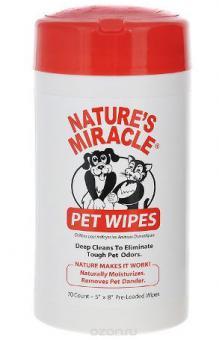 Nature's Miracle NM Pet Wipes Влажные очищающие салфетки, для собак и кошек
