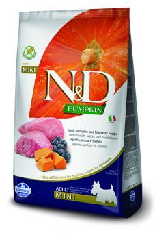 Farmina 7кг N&D Dog Grain Free Pumpkin Lamb & Bluberry Adult Mini Беззерновой корм для взрослых собак мелких пород Ягненок и Черника с Тыквой