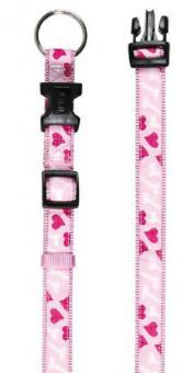 """Ошейник """" Сердце"""", 22 - 35 см, 15 мм, нейлон, розовый"""