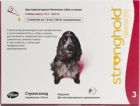 Pfizer СТРОНГХОЛД капли на холку  для собак от 10 до 20 кг 12% 3 пипетки по 1мл (120мg-красная)