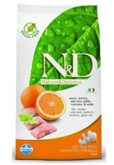 Farmina 0,8 кг N&D Dog Fish & Orange Adult Беззерновой корм для взрослых собак всех пород Рыба с Апельсином
