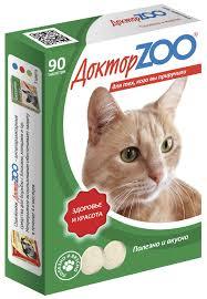 Доктор ZOO ЗДОРОВЬЕ И КРАСОТА (протеин) 90 таб.Мультивитаминное лакомство для кошек