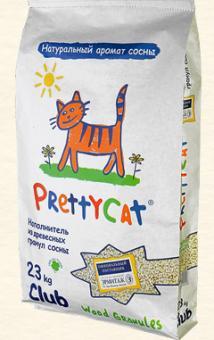 Pretty cat Wood Granulies 23кг Наполнитель древесный (светлые гранулы, пром. упаковка)