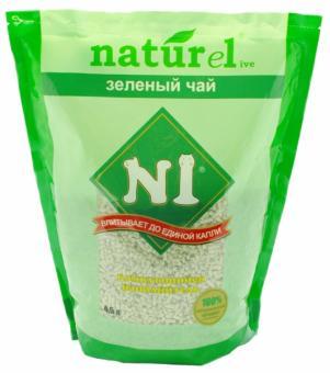 N1 Комкующийся древесный 4,5литра (гималайский кедр) наполнитель Зеленый чай, Naturel