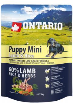 Ontario 0,75кг Puppy Mini Lamb & Rice Сухой корм для щенков малых пород с ягненком и рисом