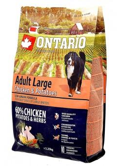 Ontario 12кг Large Chicken & Potatoes Сухой корм для собак крупных пород с курицей и картофелем