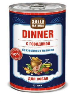 6шт.Solid Natura Dinner 0,34 кг Влажный корм Говядина