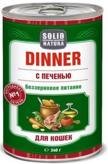 6шт.Solid Natura Dinner 0,34 кг Влажный корм Печень