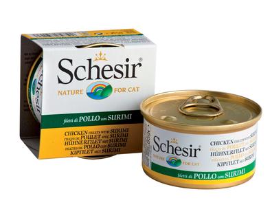6шт. Schesir 85г. Филе цыпленка+крабы, консервы для врослых кошек