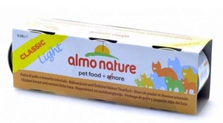 3шт,Almo Nature 50гр Light Cat Chicken Tuna набор низкокалорийных консервов c куриной грудкой и тунцом