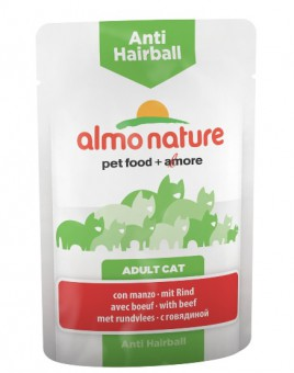 6шт Almo Nature 70гр паучи с говядиной для вывода шерсти у кошек, Functional Anti-Hairball with Beef