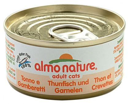 6шт Almo Nature 70гр  тунцом и креветками консервы для кошек Legend Adult Cat Tuna&Shrimps с