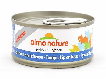 6шт Almo Nature 70гр с тунцом, курицей и сыром консервы для кошек Legend Adult Cat Tuna, Chicken&Cheese