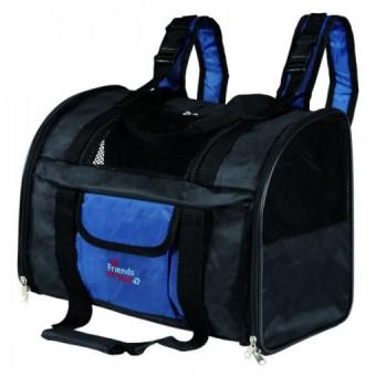 TRIXIE Сумка - рюкзак для кошек и собак до 8 кг, нейлон, черно/синий