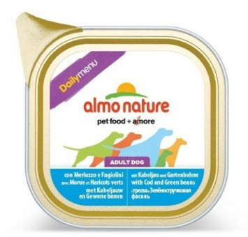 6шт. Almo Nature 100г Daily Menu Cod and Green Beans Паштет для собак Меню с треской и стручковой фасолью