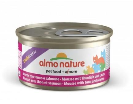 6шт Almo Nature 85гр Daily Menu mousse Tuna and Salmon Консервы нежный мусс для кошек Меню с Тунцом и Лососем