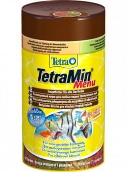 TetraMenu 250 мл - корм для всех видов рыб, 4 вида мелких хлопьев в одной баночке