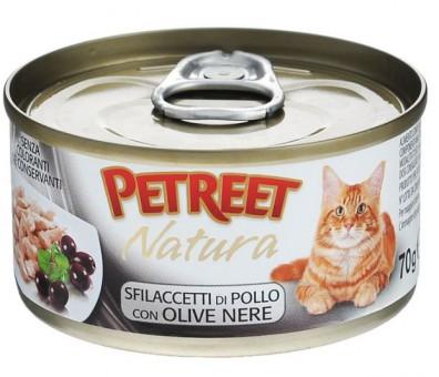 6шт Petreet 70г Natura chicken olives Консервы для взрослых кошек куриная грудка с оливками