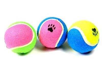 Beeztees Игрушка для собак Мячик теннисный с отпечатками лап, разноцветный 6,5см