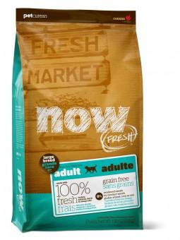 Now Fresh 11,35 кг Dog Grain Free Adult Large Breed Turkey, Salmon, Duck & Omega Oils Беззерновой сухой корм для взрослых собак крупных пород с индейкой, лососем, уткой и Омега 3