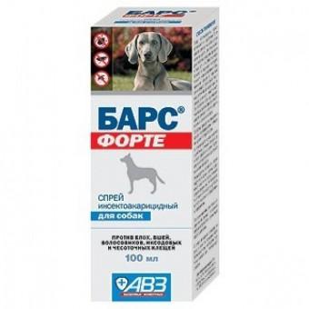 Барс Форте 100мл спрей для собак при лечении от вшей, блох, власоедов