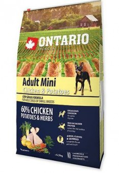 Ontario 0,75кг Adult Mini Chicken & Potatoes Сухой корм для собак малых пород с курицей и картофелем