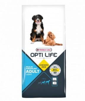 Opti Life Adult Light Medium/Maxi 12.5кг Сухой корм для собак средних и крупных пород с избыточным весом, курица/рис