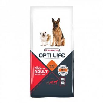 Opti Life Adult Digestion Medium/Maxi 12.5кг Сухой корм для собак с чувствительным пщеварением, ягненок/рис