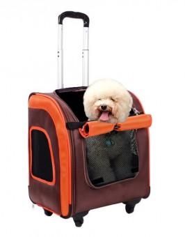 Ibiyaya 40х31х44см сумка-тележка Liso прямоугольная, максильный вес питомца 10 кг, коричневая/оранжевая