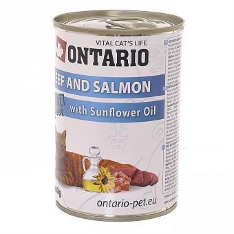 Ontario 0,4кг Консервы 6 шт для кошек говядина и лосось
