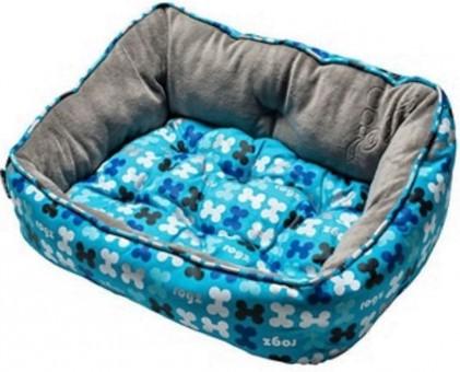 Rogz Мягкий лежак 52х38х25см с двусторонней подушкой TRENDY PODZ размер S Голубые косточки