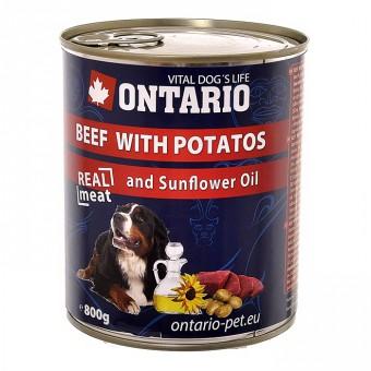 Ontario 0,8кг Консервы для собак говядина и картофель