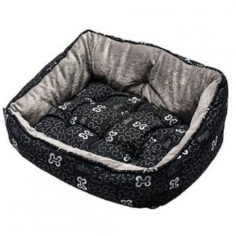 Rogz Мягкий лежак 52х38х25см с двусторонней подушкой TRENDY PODZ размер S Черные косточки