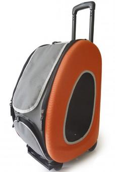 Ibiyaya складная сумка-тележка 3 в 1 для собак до 8 кг (сумка, рюкзак, тележка)  оранжевая