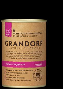 Grandorf 400 г Buffalo & Turkey Консервы для взрослых собак, буйвол и индейка
