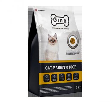Gina Cat 18кг Rabbit&Rice  для взрослых кошек с нормальным уровнем активности.