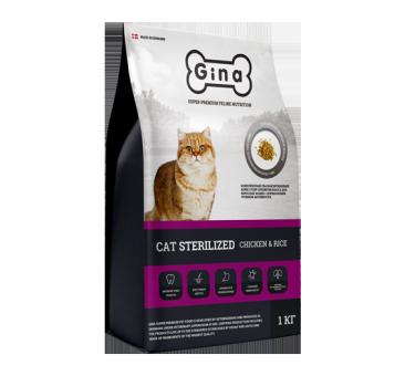 Gina 1 кг Cat Sterilized Chicken&Rice Сухой корм суперпремиум класса для кошек с нормальной активностью