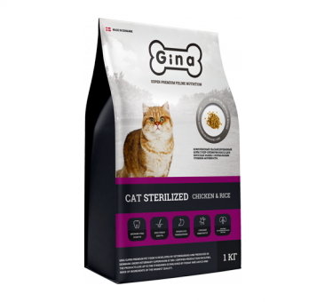 Gina 7,5 кг Cat Sterilized Chicken&Rice Сухой корм суперпремиум класса для кошек с нормальной активностью