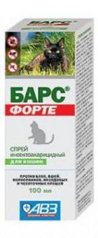 Барс Форте 100мл спрей для кошек при лечении от вшей, блох, власоедов