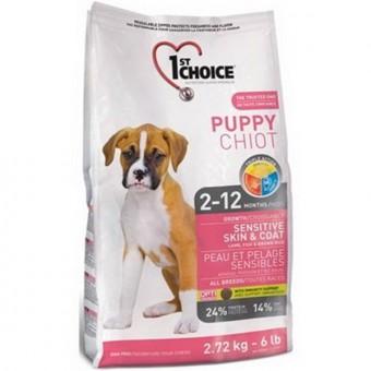 1st Choice 14 кг Puppy sensitive Сухой корм для щенков с чувствительной кожей и для шерсти ягненок рыба рис