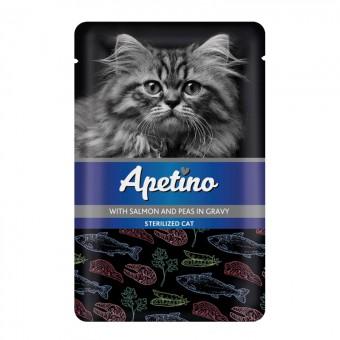 Apetitno 85г пауч для взрослых стерилизованных кошек и кастрированных котов лосось, горошек в соусе